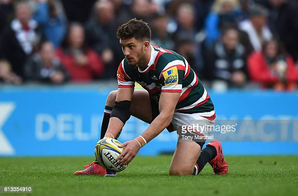 Owen Williams of Leicester Tigers lines up a kick during the Aviva Premiership match between Leicester Tigers and Worcester Warriors at Welford Road...