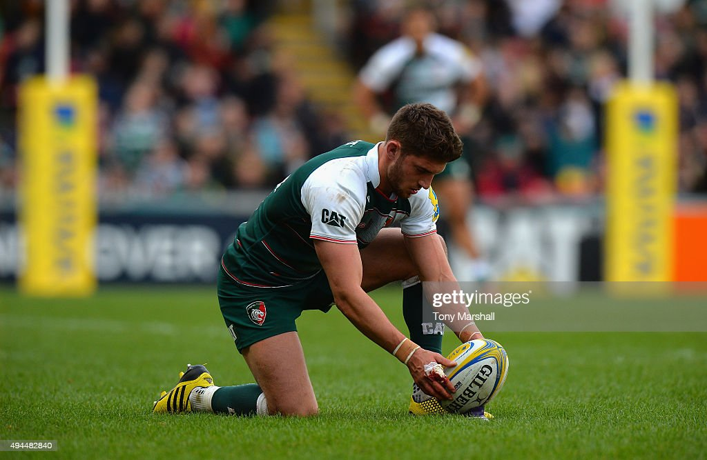 Owen Williams of Leicester Tigerslines up a kick during the Aviva Premiership match between Leicester Tigers and Harlequins at Welford Road on October 25, 2015 in Leicester, England.