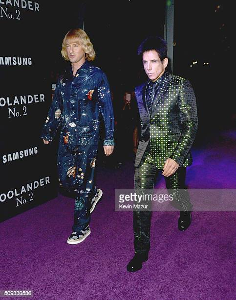 Owen Wilson and Ben Stiller attend the 'Zoolander 2' World Premiere at Alice Tully Hall on February 9 2016 in New York City