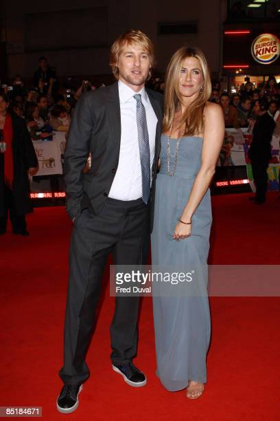 """Owen Wilson and Jennifer Aniston attend the UK premiere of """"Marley & Me"""" at the Vue Leicester Square on March 2, 2009 in London, England."""