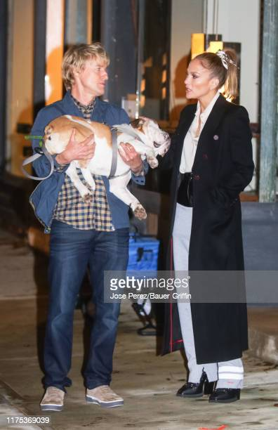 Owen Wilson and Jennifer Lopez are seen on the film set of the 'Marry Me' in Red Hook Brooklyn on October 11 2019 in New York City