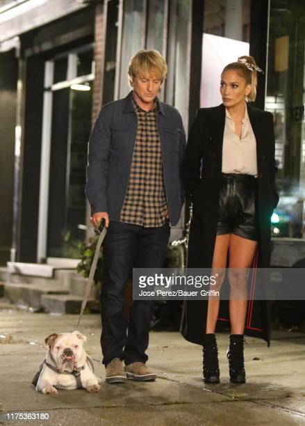 Owen Wilson and Jennifer Lopez are seen on the set of Marry Me on October 11 2019 in New York City