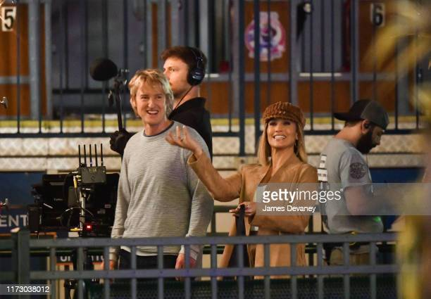 """Owen Wilson and Jennifer Lopez seen filming on location for """"Marry Me"""" at Deno's Wonder Wheel Amusement Park in Coney Island, Brooklyn on October 1,..."""