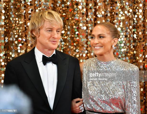 Owen Wilson and Jennifer Lopez seen filming on location for 'Marry Me' at the Manhattan Center on October 22, 2019 in New York City.