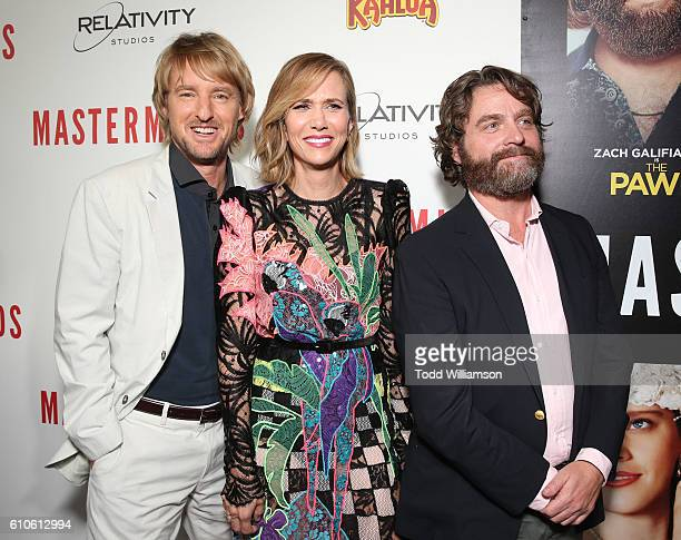 Owen Wilson Kristen Wiig and Zach Galifianakis attend the Premiere Of Relativity Media's 'Masterminds' at TCL Chinese Theatre on September 26 2016 in...