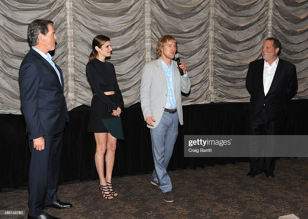 Owen Wilson, Pierce Brosnan, Lake Bell and Harvey Weinstein speak on stage during the special screening of NO ESCAPE with Owen Wilson, Lake Bell and Pierce Brosnan at Dolby 88 Theater on August 24, 2015 in New York City.