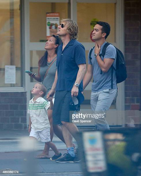 Owen Wilson seen with his son Robert Wilson and Jade Duell at the September 11th Memorial on August 26 2015 in New York City