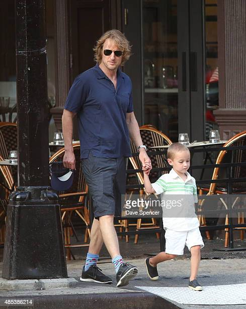 Owen Wilson seen with his son Robert Wilson at the September 11th Memorial on August 26 2015 in New York City