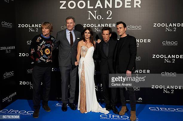 Owen Wilson Will Ferrell Penelope Cruz Ben Stiller and Justin Theroux attend the Madrid Fan Screening of the Paramount Pictures film 'Zoolander No 2'...