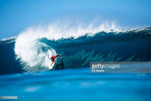 Owen Wright of Australia advances directly to Round 3 of the 2019 Billabong Pipe Masters after winning Heat 7 of Round 1 at Pipeline on December 10...