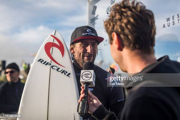 Owen Wright of Australia surfing in Heat 11 of Round 1 of the Boost Mobile Margaret River Pro presented by Corona on May 3, 2021 in Margaret River,...