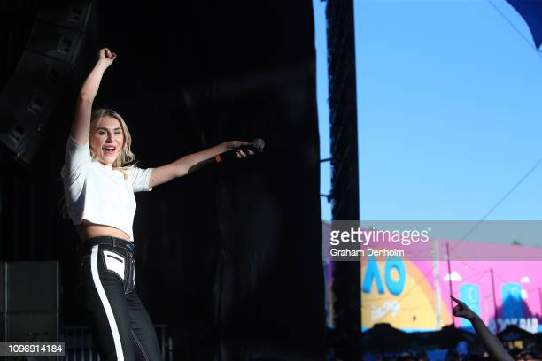 Owl Eyes performs with Flight Facilities on the AO Live Stage during day seven of the 2019 Australian Open at Melbourne Park on January 20 2019 in...
