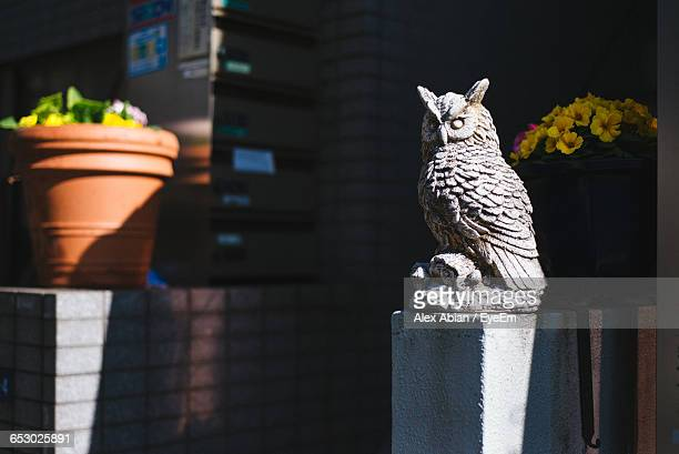 Owl Sculpture On Sunny Day