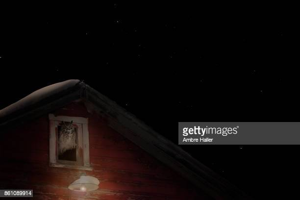 owl sleeping in an old barn window at night - great horned owl stock pictures, royalty-free photos & images