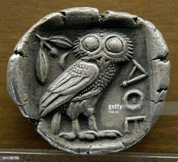 Owl symbol of Athens reverse of a silver tetradrachm from Athens | Located in Musee des BeauxArts Lyon