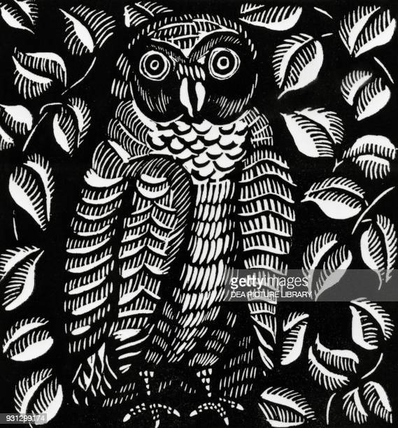 Owl woodcuts by Raoul Dufy for the poem Le hibou from Le Bestiaire ou Cortege d'Orphee by Guillaume Apollinaire