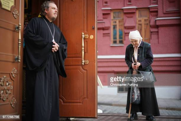 A owman arrives for church near Red Square on June 17 2018 in Moscow Russia Today saw the first shock result of the World Cup tournament with Mexico...