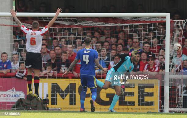 Own goal by Adam Rooney of Swindon Town during the npower League One Play Off Semi Final Second Leg match between Brentford and Swindon Town at...