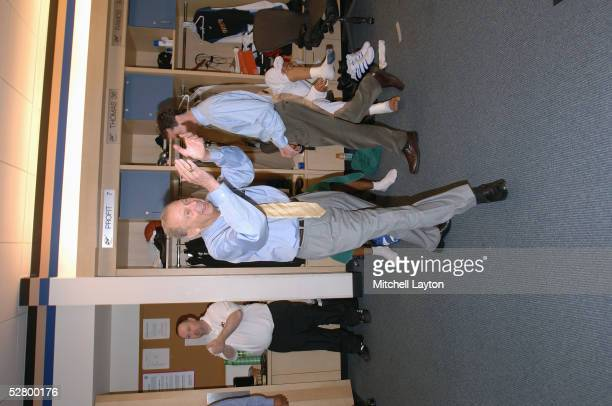Owner Abe Pollin of the Washington Wizards celebrates in the locker room after game six of the Eastern Conference Quaterfinals with the Chicago Bulls...