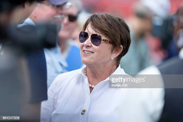 Owner Amy Adams Strunk of the Tennessee Titans talking with fans before a game against the Seattle Seahawks at Nissan Stadium on September 24 2017 in...