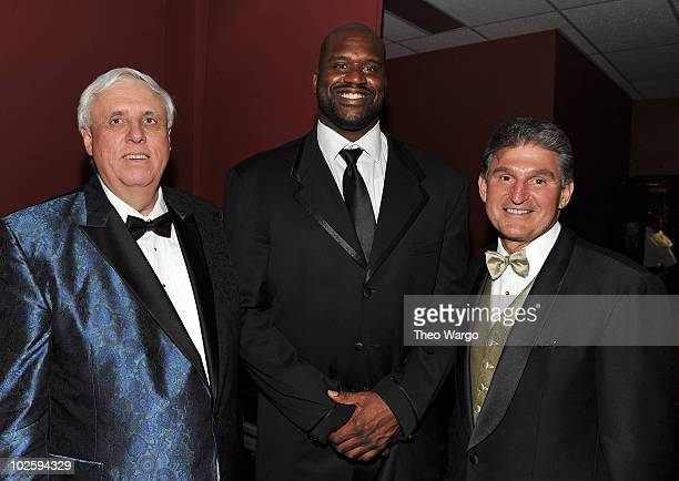 Owner and Chairman of The Greenbrier Jim Justice, Shaquille O'Neal and West Virginia Governor Joe Manchin attend The Greenbrier for the gala opening...