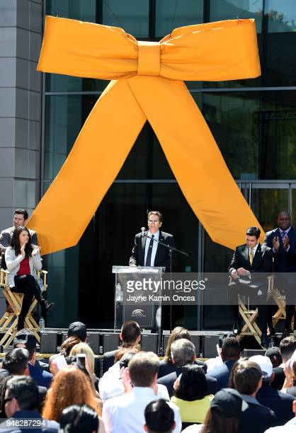 Owner and Executive Chairman Peter Gruber of the Los Angeles FC speaks to fans and media at the ribbon cutting ceremony for the new Banc of...