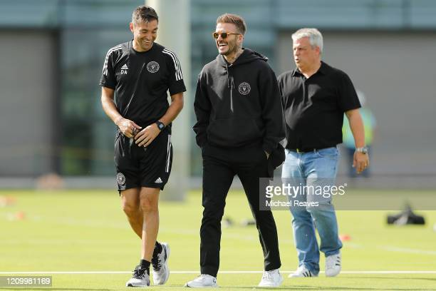 Owner and President of Soccer Operations David Beckham laughs with head coach Diego Alonso ahead of Inter Miami CF's inaugural match on March 1st...