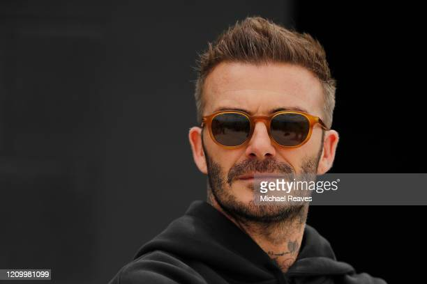 Owner and President of Soccer Operations David Beckham looks on ahead of Inter Miami CF's inaugural match on March 1st against LAFC during media...
