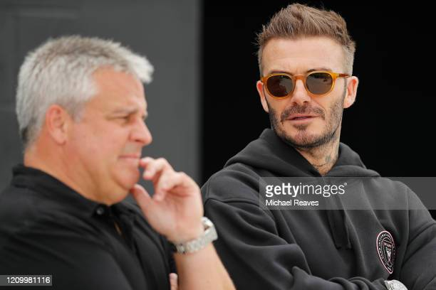 Owner and President of Soccer Operations David Beckham of Inter Miami CF talks with sporting director Paul McDonough ahead of Inter Miami CF's...