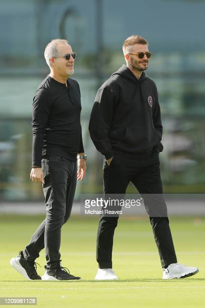 Owner and President of Soccer Operations David Beckham of Inter Miami CF talks owner Jorge Mas ahead of Inter Miami CF's inaugural match on March 1st...