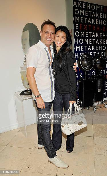 Owner Angus Mitchell and actress Kelly Hu attend the CutAThon presented by the American Red Cross for disaster releif relief caused by the tornadoes...