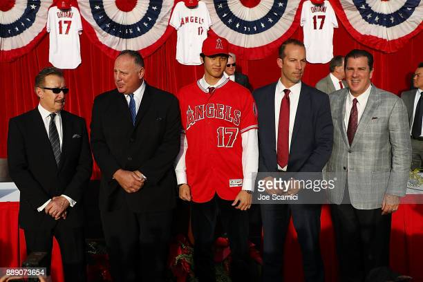 Owner Arte Moreno Manager Mike Scioscia Shohei Ohtani General Manager Billy Eppler and President John Carpino introduce Shohei Ohtani to the Los...