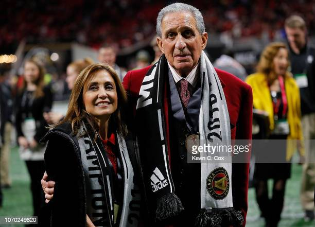 Owner Arthur Blank of the Atlanta United and Angela Macuga look on after the 20 win over the Portland Timbers during the 2018 MLS Cup between Atlanta...