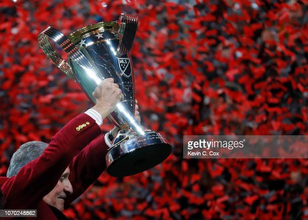 Owner Arthur Blank raises the MLS Cup after their 20 win over the Portland Timbers during the 2018 MLS Cup between Atlanta United and the Portland...
