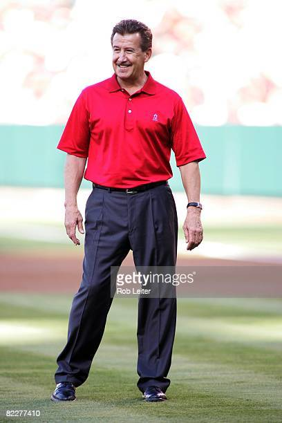 Owner Artie Moreno of the Los Angeles Angels of Anaheim stands on the field before the game against the Toronto Blue Jays at Angel Stadium in Anaheim...