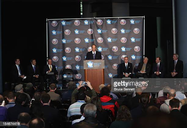 Owner Bruce Ratner of the Brooklyn Nets welcomes the New York Islanders to Brooklyn after the announcement of the franchises relocation in 2015 at a...