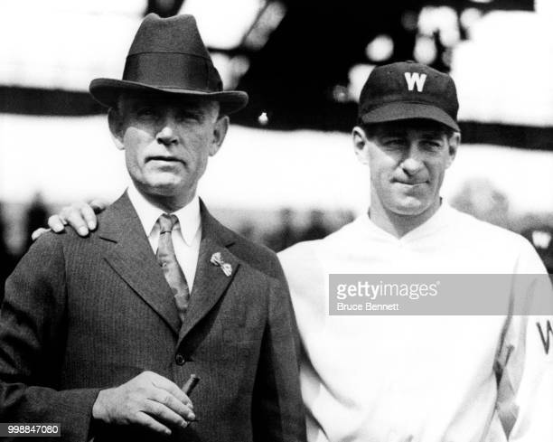 Owner Clark Griffith and manager/player Bucky Harris of the Washington Senators pose for a portriat prior to Game 1 of the 1924 World Series against...