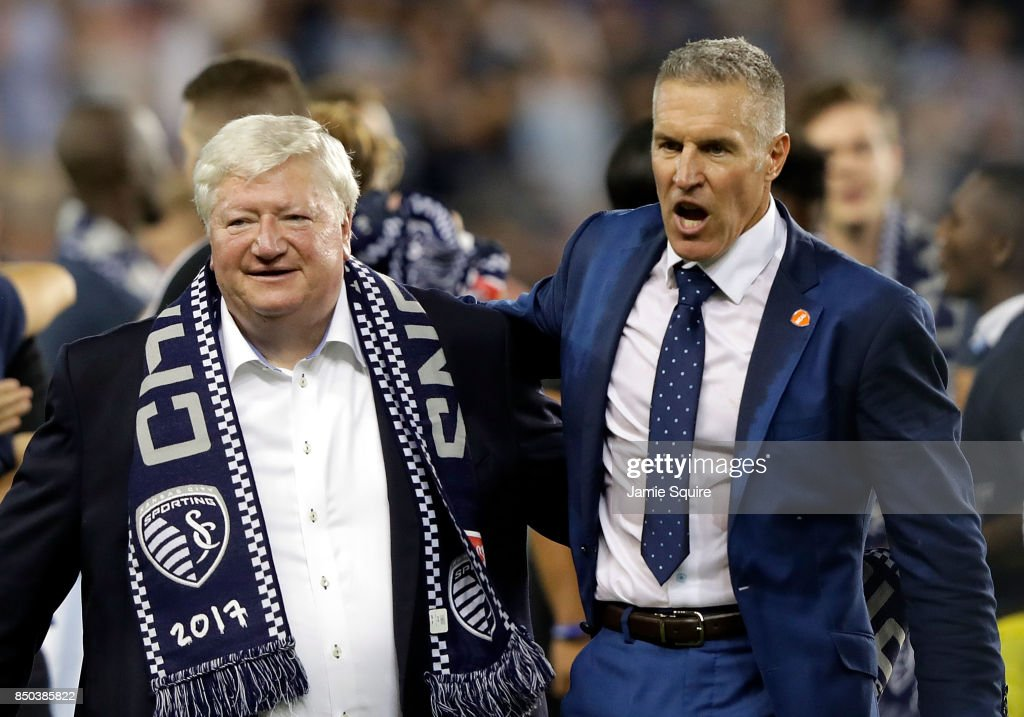 Owner Cliff Illig and head coach Peter Vermes of Sporting Kansas City celebrate after Sporting defeated the New York Red Bulls 2-1 to win the 2017 U.S Open Cup Final at Children's Mercy Park on September 20, 2017 in Kansas City, Kansas.
