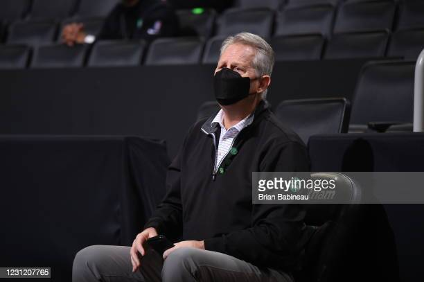 Owner Danny Ainge of the Boston Celtics sits on the sideline during the game against the Denver Nuggets on February 16, 2021 at the TD Garden in...