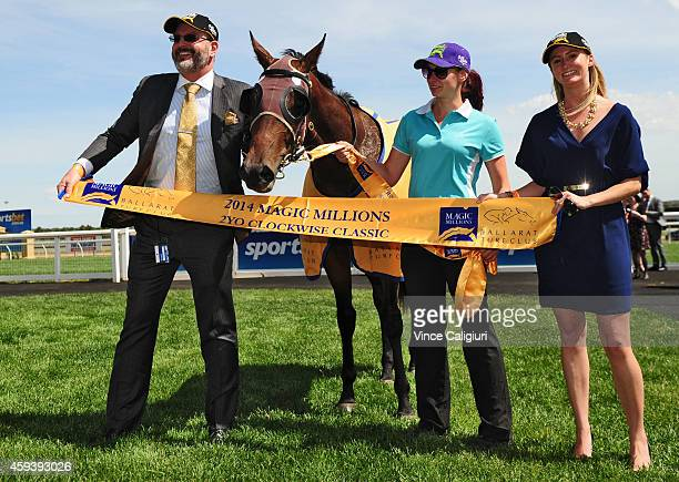 Owner David Henderson poses with Carriages after winning Race 6, the Magic Millions Clockwise Classic during the Ballarat Cup Day on November 22,...