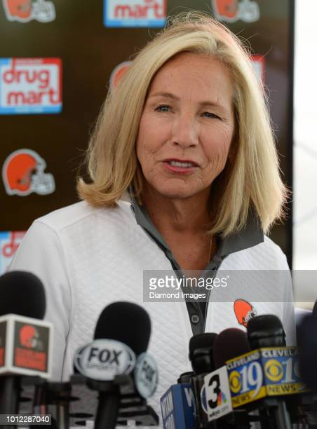 Owner Dee Haslam of the Cleveland Browns answers questions from the media prior to a training camp practice on July 28 2018 at the Cleveland Browns...