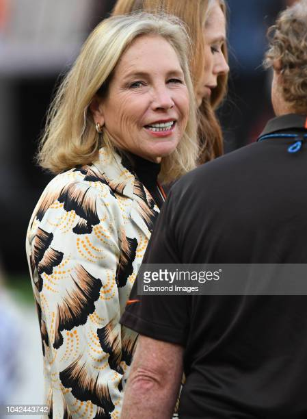 Owner Dee Haslam of the Cleveland Browns on the sideline prior to a game against the New York Jets on September 20 2018 at FirstEnergy Stadium in...