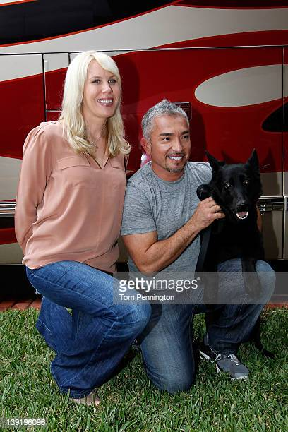 Owner DeLana Harvick and Cesar Millan , dog behavior specialist, pose in the Driver/Owner Lot at Daytona International Speedway on February 17, 2012...