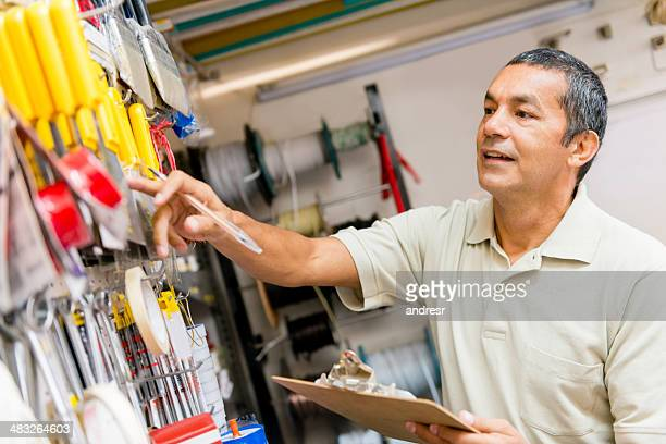 Owner doing inventory