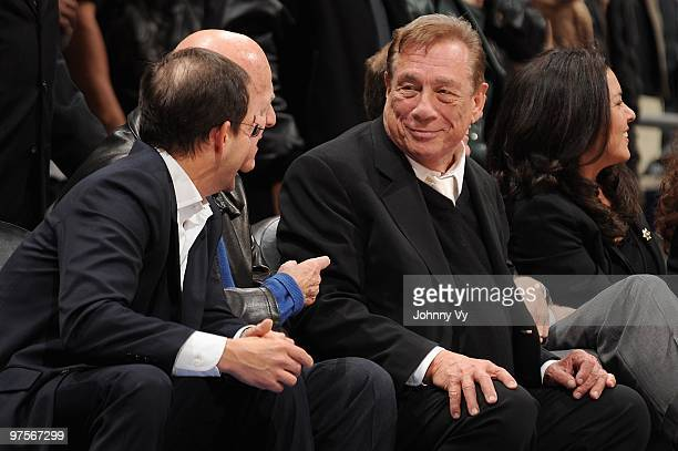 Owner Donald Sterling of the Los Angeles Clippers sits courtside during the game against the Detroit Pistons on February 24 2010 at Staples Center in...