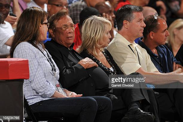 Owner Donald T Sterling of the Los Angeles Clippers looks on during an NBA Summer League game against the Washington Wizards on July 12 2010 at Cox...