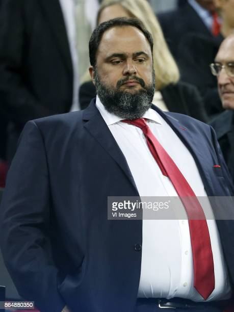 owner Evangelos Marinakis of Olympiacos during the UEFA Champions League group D match between FC Barcelona and Olympiacos on October 18 2017 at the...