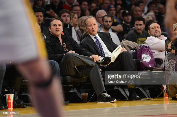 Owner Gavin Maloof of the Sacramento Kings and sportscaster Jim Gray look on during a game between the Sacramento Kings and the Los Angeles Lakers at...
