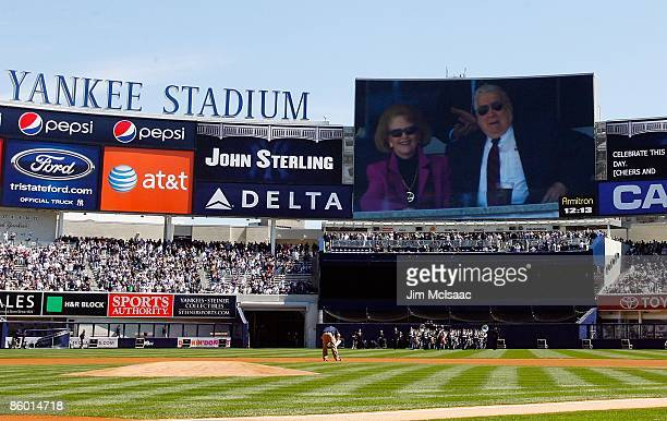 Owner George Steinbrenner is seen on the jumbotron during an opening day ceremony at the new Yankee Stadium on April 16 2009 in the Bronx borough of...
