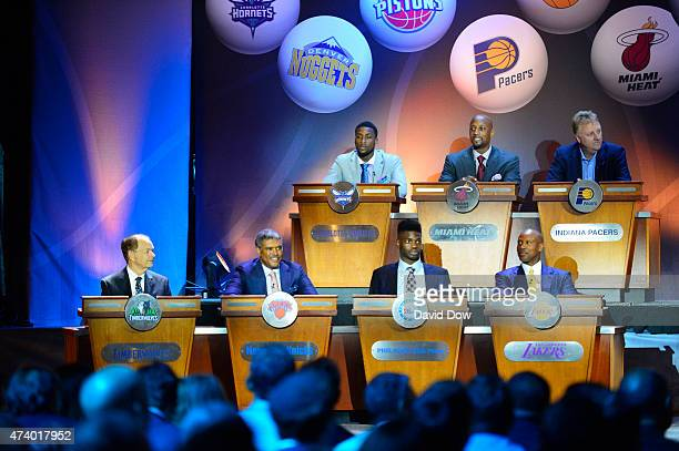 Owner Glen Taylor of the Minnesota Timberwolves General Manager Steve Mills of the New York Knicks Nerlens Noel of the Philadelphia 76ers and Head...